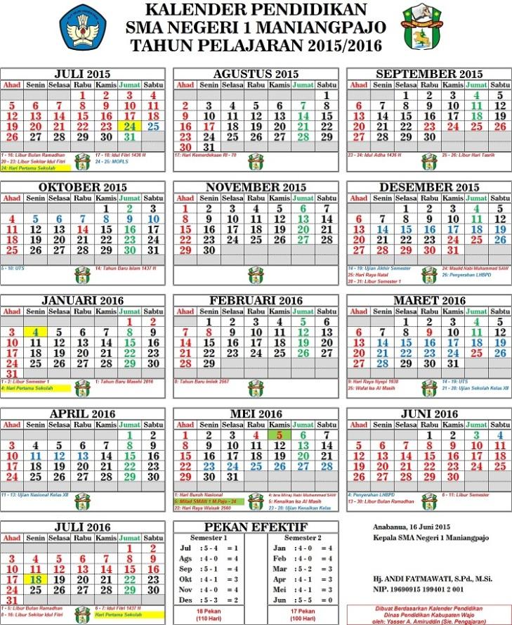 Kalender Pendidikan SMAN 1 Maniangpajo kecil