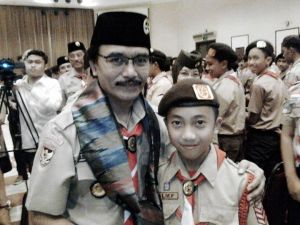 Muhammad Alief Agusti bersama Ketua Kwarnas Adhyaksa Dault (Foto: Muh. Yunus)