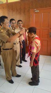 Muhammad Alief Agusti pamit pada Ketua Kwarcab Wajo (Foto: Irwan SYamsuddin)